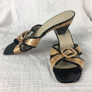 Made in Italy cork and leather high-heeled sandals